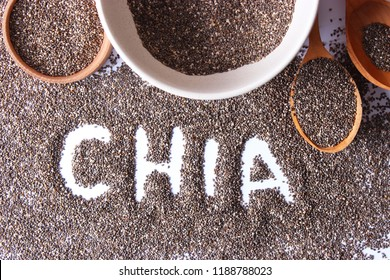 chia seeds on white background. Super food, useful supplements, proper nutrition.