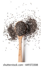 Chia seeds on a white background