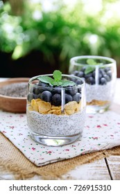 Chia seeds pudding with berries