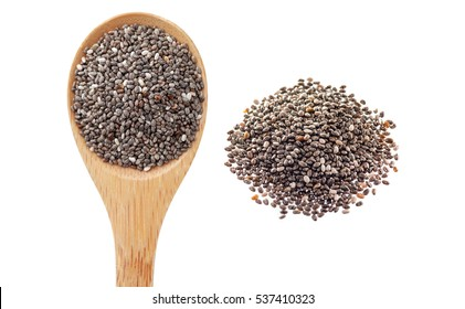 Chia seeds in wooden spoon isolated on white background.