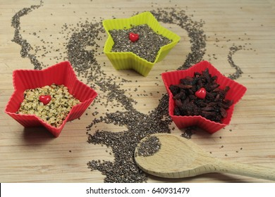 Chia seeds,hemp seeds and goji berries