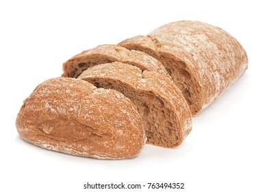 Chiabata bread bun closeup isolated on white background