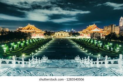 Chiang Kai Sheik (CKS) memorial hall at night