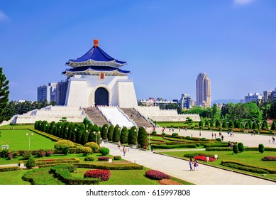 Chiang Kai Shek memorial hall on a sunny day