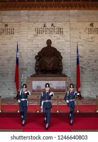 Chiang Kai-Shek Memorial Hall Taipei Taiwan October 19 2018 the guards change ceremonies at Chiang kai-shek memorial bronze statue hall.this place is popular travel destination.