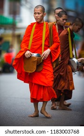 Chiang Khan district, Thailand -September 02, 2018 : Monk goes on an alms-round in the morning, Thailand.