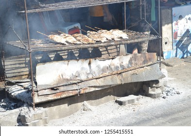 Chiang Khan, Loei, /Thailand - December 5, 2018 :  grilled NILE TILAPIA fish at on food street at Kaeng Kud Koo, a popular tourist attraction in Loei province, Thailand