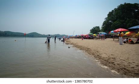 CHIANG KHAN,LOEI-CIRCA APRIL 2019 : View of Nang Khoi Beach, Chiang Khan District, Beaches in the Mekong River, Loei Province