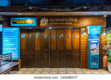 Chiang Khan,Loei/Thailand - Oct 12 2018  : Decorating a bank office building that is open in the area of retro attractions at Chiang Khan District, Loei Province, adjacent to the Mekong River and Laos