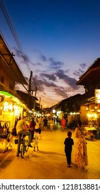 Chiang Khan,Thailand Loei Province: October 29, 2018: Walking street and ancient wooden house, which is a tourist attraction of Chiang Khan district, Loei province.