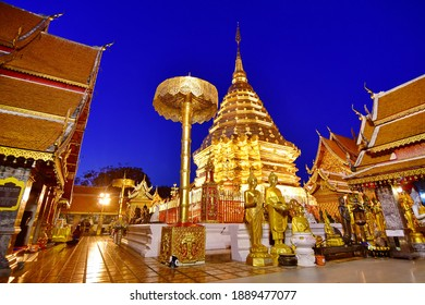 Chiang Mai -December 20,2020 : Wat Phra That Doi Suthep against blue sky during twilight time, Chiang Mai, Thailand.