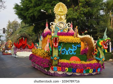 Chiang Mai Flower Festival Parade with flower decorated floats, 2018