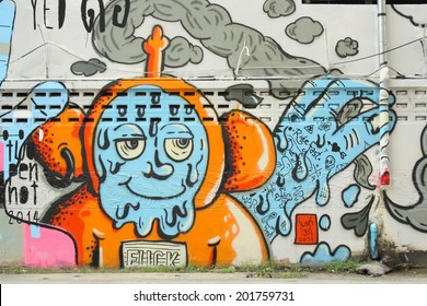 CHIANG MAI - JUNE 30: Street art or graffiti by unidentified artist in the city. - June30, 2014 in Chiangmai, Thailand