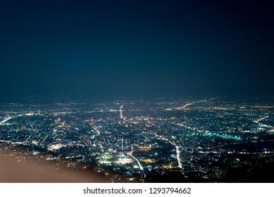 Chiang mai night view from Doi Su thep background