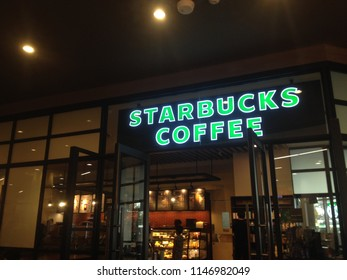 Chiang Mai, TH - August 1,2018: Starbucks logo on a Starbucks cafe in the Shopping Mall