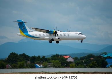 Chiang Mai, THAILAD - September 5, 2016 ; ATR72-500 of Kan Air registered HS-KAD on final approach for landing at Chiang Mai International Airport.
