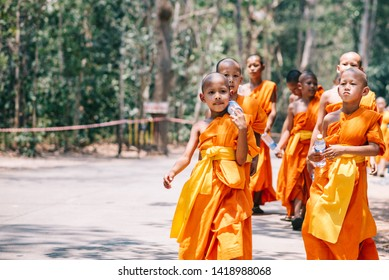 Chiang Mai, Thailand - 11 April 2018 : Novices are walking to practice Dharma at the temple in forest. Buddhism.