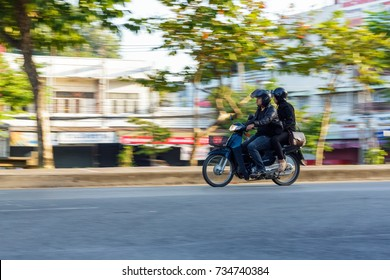 CHIANG MAI, THAILAND - 11/5/2016: Motorbike in motion in Chiang Mai, Thailand