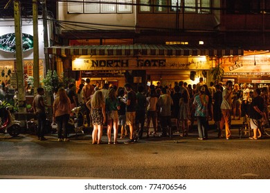 Chiang Mai, Thailand; 12 December 2017, North Gate Jazz Co-Op during weekend where people gathered for jazz music. North Gate is one of the most popular bar in Chiang Mai.