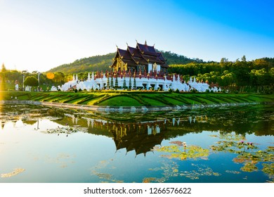 Chiang Mai, Thailand, 14th November, 2017:The Royal Pavilion (Ho Kham Luang) in Royal Park Rajapruek with Reflection, The most famous tourist attraction in Thailand.
