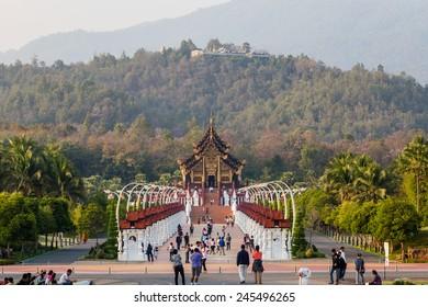 Chiang Mai, Thailand - 18 January, 2015: Royal pavilion ( (Ho Kum Luang) in traditional Lanna style at Royal Flora Ratchaphruek Exhibition in Chiang Mai, Thailand