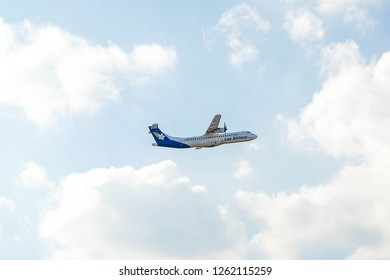 Chiang Mai Thailand 19 DEC 2018 : Lao Airlines with ATR 72-500 take-off from Chiang Mai international airport.