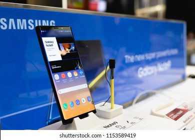 CHIANG MAI, THAILAND - 2018 AUG 10 : Samsung Galaxy Note 9 with new yellow S Pen,  The new Samsung Galaxy Note 9 is seen during a product launch.