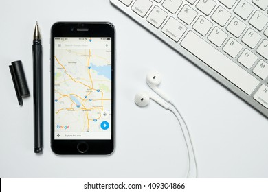 Google maps images stock photos vectors shutterstock chiang mai thailand apr 202016 google maps application on apple iphone gumiabroncs Images