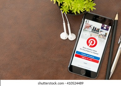 CHIANG MAI, THAILAND - Apr 23,2016: Apple iPhone with Pinterest application on the screen. Pinterest is an online pinboard that allows people to pin their interesting things.