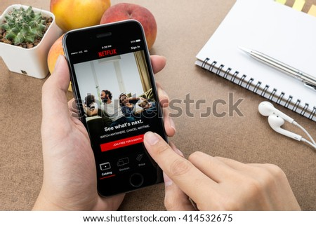 CHIANG MAI, THAILAND - Apr 24,2016: Apple iPhone with Netflix application on the screen. Netflix is a provider of on-demand Internet streaming media, and of flat rate DVD-by-mail in the United States.