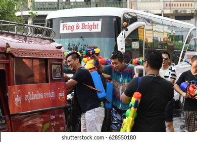 CHIANG MAI THAILAND - APRIL 12-15, 2017 : Chiang Mai Songkran Festival. Unidentified travelers enjoy splashing water at Tha-Phae road, festival is held annually in April.
