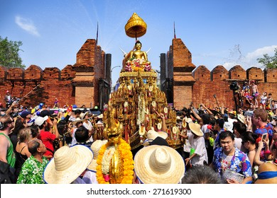 CHIANG MAI THAILAND - APRIL 13 : Chiangmai Songkran festival.The tradition of bathing the Buddha Phra Singh marched on an annual basis. With respect to faith. on April 13, 2015 in Chiangmai,Thailand.