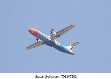 CHIANG MAI , THAILAND - APRIL 13 2007:  HS-PGB ATR72-200 of Bangkok Airway. Flight for  Chiangmai airport and Bangkok.
