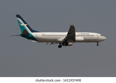Chiang Mai, Thailand. April 20, 2019. SilkAir Boeing 737-800 Reg. 9V-MGD from Singapore on Short Final Approach for Landing at Chiang Mai International Airport.