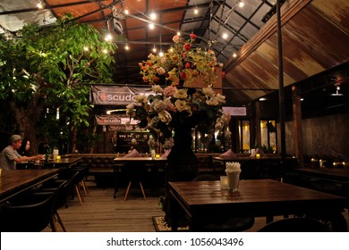 CHIANG MAI, THAILAND- APRIL 21, 2015: Interior design and decoration of 'Escudo Supper Club' local restaurant and bar decorated with wooden furniture in country western style