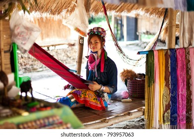 Chiang Mai, Thailand - APRIL 22, 2015: The village of long-necked women. Hilltribe Villages. Karen Long Neck Village