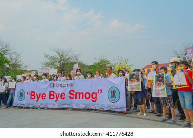 "CHIANG MAI, THAILAND - APRIL 24 : Unidentified people in ""bye bye smog"" campaign to show their support solving the smog crisis. at Three Kings Monument on April 24, 2016 in Chiang Mai, Thailand."