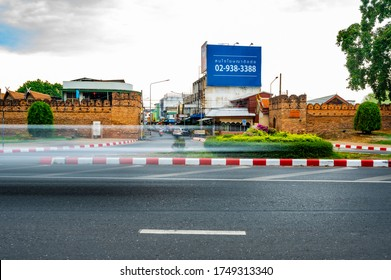 CHIANG MAI, THAILAND - April 26, 2020 : Chiang Mai Gate with city street, Chiang Mai province.