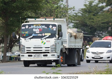 CHIANG MAI, THAILAND - APRIL  5 2018: Private Isuzu Dump Truck. On road no.1001 8 km from Chiangmai Business Area.
