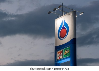Chiang Mai, Thailand : April-30-2018 : The PTT fuel gas station sign, one of an iconic most popular fuel brand in Thailand.