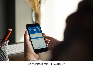 CHIANG MAI, THAILAND - AUG 20, 2018: iPhone with facebook application on the screen.facebook is a photo-sharing app for smartphones. facebook is a social network.