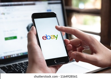 CHIANG MAI, THAILAND - AUG 26, 2018: Close up of ebay app on a Apple iPhone 6 screen. ebay is one of the largest online auction and shopping websites.