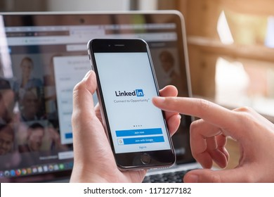 CHIANG MAI, THAILAND - AUG 26, 2018: iPhone X with LinkedIn application on the screen. LinkedIn is a business-oriented social networking service.
