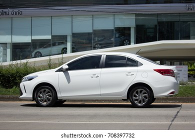 CHIANG MAI, THAILAND - AUGUST 22  2017:  New Private Sedan car Toyota Vios. On road no.1001 8 km from Chiangmai Business Area.