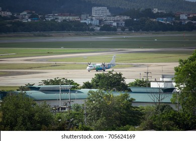 CHIANG MAI, THAILAND - AUGUST 23  2017:   HS-PGA ATR72-200 of Bangkok Airway. Flight for  Chiangmai airport and Mae hong son.