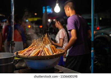 CHIANG MAI, THAILAND - AUGUST 27: Sausages for sale at the Saturday Night Market (Walking Street) on August 27, 2016 in Chiang Mai, Thailand.