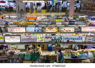 Chiang Mai, Thailand - August 27, 2016: High angle view of the Warorot market stalls on August 27, 2016 in Chiang Mai, Thailand.