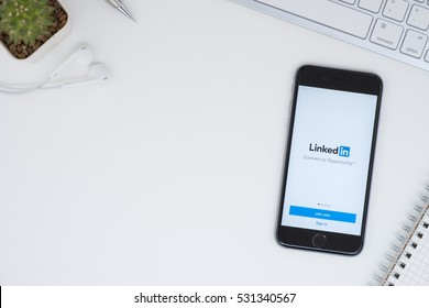CHIANG MAI, THAILAND - Dec 05, 2016: Apple iPhone with LinkedIn application on the screen. LinkedIn is a business-oriented social networking service.