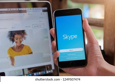 CHIANG MAI, THAILAND - DEC 05,2018: Man holding iphone x with skype apps. Skype is part of Microsoft, can make video, audio calls, chat messages and do much more using Skype.