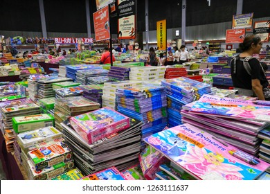 Chiang Mai, Thailand - Dec 2, 2018 : Stack of books on sale at The Big Bad Wolf Book Sale 2018 at The Big Bad Wolf Book Sale 2018 in the Chiang Mai International Exhibition & Convention Centre.